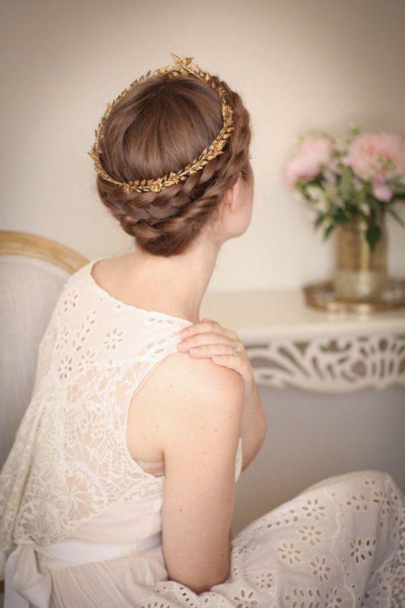 Edwardian Mini Blattgold Kopfreif, alte Krone, Blatt Krone, Braut Haarreif, Hochzeitssuite Stirnband, griechische Göttin, Blume…