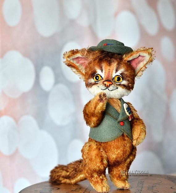 SALE OOAK Artist Teddy Kitten 8 inch Abyssinian cat Somali creation toy fluffy soft pet portrait gift animal bengal cats kitty burma natural