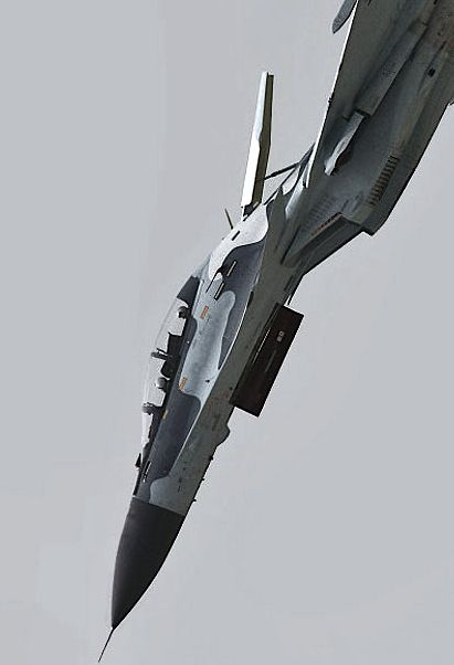 """Russian fighter jet in dive with """"air brake"""" deployed"""