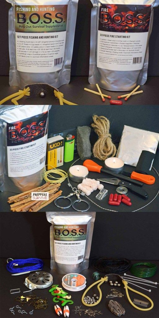 B.O.S.S. Survival Kit Review - Fire B.O.S.S. & Fishing and Hunting B.O.S.S.- Bug Out Survival Supplement Kits by Stanford Outdoor Supply - Preppers Survive