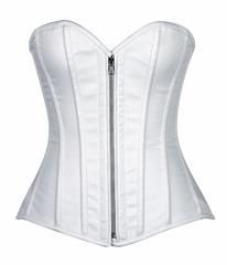 Top Drawer Premium White Cotton Steel Boned Corset w/Zipperfeaturing premium cotton corset with front zipper closure with a privacy panel behind the zipper. It has 10 spiral steel bones and...