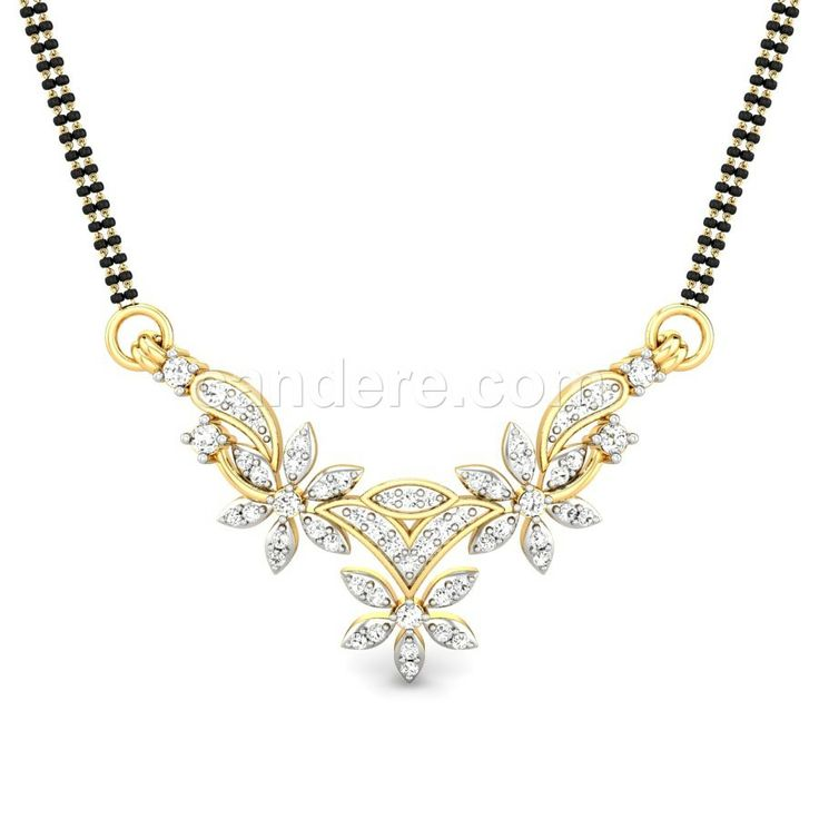 Buy Yellow Gold 18K 4.36 Diamond No Dhara Diamond Mangalsutra Pendant Online at Candere.com. All India free shipping plus easy interest free EMI facility with lifetime exchange offer for more information click here ~ http://www.candere.com/dhara-diamond-mangalsutra-pendant.html #Tanmaniya #Mangalsutra #Wedding #Gold #Diamonds