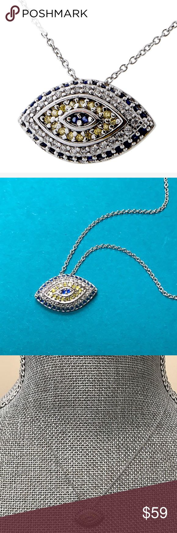 """Gemstone Evil Eye Necklace,NWT Scare all evil spirits away with this trendy evil eye necklace. This necklace is different and very pretty because is uses soft Canary Yellow, Sapphire Blue, and Clear cubic zirconia to gets its warning across.  16"""" chain length w/ 2"""" Extension Chain  1/2"""" Width x Slightly under 3/4"""" Wide Swarovski Crystals in Canary Yellow, and Sapphire Blue Clear Cubic Zirconia Silver-plated Stainless Steel metal Spring-ring closure ZD Jewelry Necklaces"""