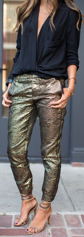 Shimmy Shimmy #Gold #Pants     by Song Of style => Click to see what she wears