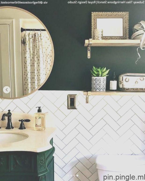 Wall Pattern Stencils Faux Subway Tiles With Herringbone Design Bathroomtile Herringbone Wall Subway Tile Green Bathroom