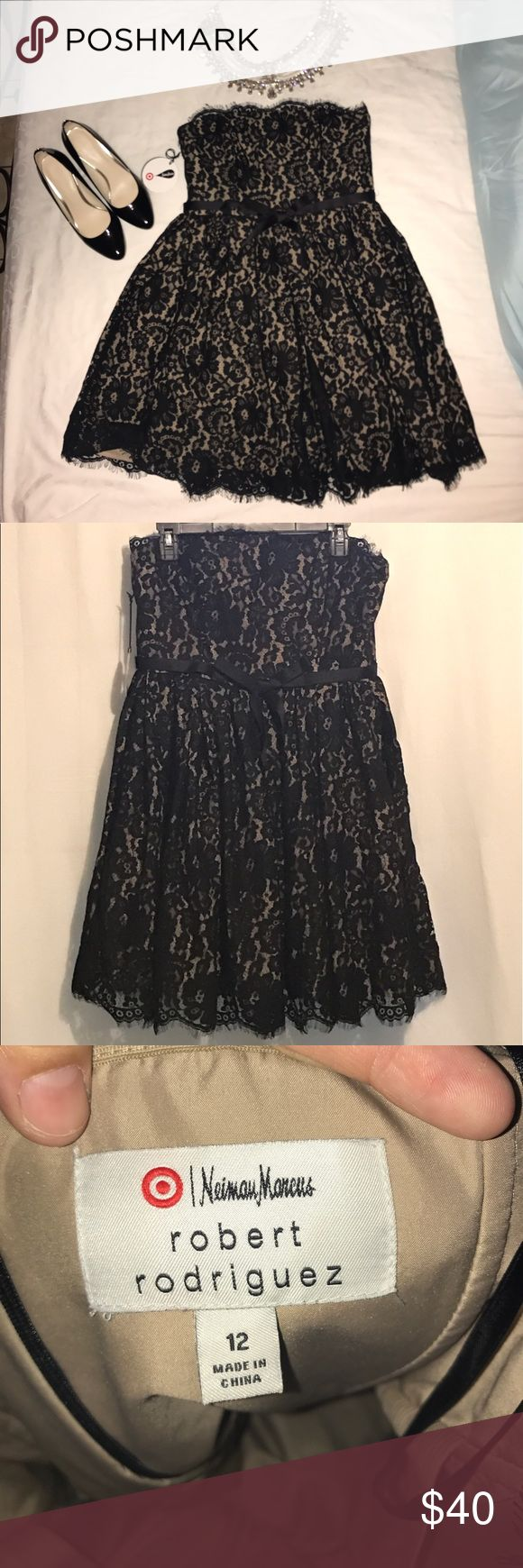Strapless Robert Rodriguez party dress BNWT Black sleeveless party dress. Black lace on beige, has tule to puff up the skirt. Target Neiman Marcus And Robert Rodriguez collaboration Robert Rodriguez Dresses Strapless
