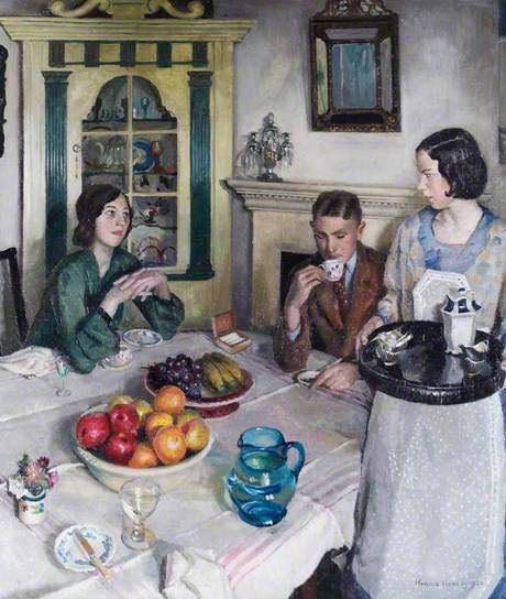 "The Young Menage, 1932 by Harold Harvey (1874-1941)…… YOUNG BOSSES GOT VERY TRYIN FOR THE POOR OLDER MAID, ""HORTENSE""…..BY DINNERTIME, HER BACK ACHED AND HER FEET HURT……THEN, HER YOUNG BOSS ARROGANTLY INFORMS HER THAT SHE'D LIKE A --FRESH--POT OF COFFEE……HORTENSE QUIT AT THE END OF THE WEEK…………..ccp"