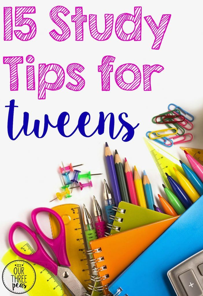 We all want our kids to do well in school. Help your older tween learn how to do the best they can with these 15 study tips for tween! | Our Three Peas