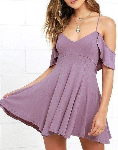 Sexy spaghetti Strap Homecoming Dress,Backless Skater Dress,Off Shoulder purple satin Prom Dress