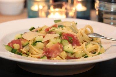 Spaghetti med squash, skinke og parmesan - TRINEs MATBLOGG