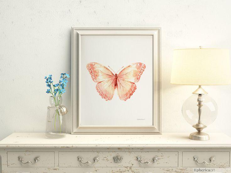 Peach nursery art, Pastel nursery wall art, Cute art Baby girl room wall art, 5x7 Butterfly Light coral girly room Butterfly wall decoration by EphericaArt on Etsy