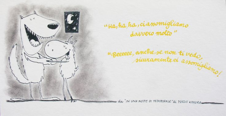 #InUnaNottediTemporale #Yuichi #Kimura #PIKI #Illustration #Pencil #ink #wolf #goat
