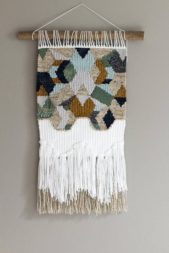Woven wall hanging // Modern Tapestry // Neutral Geometric