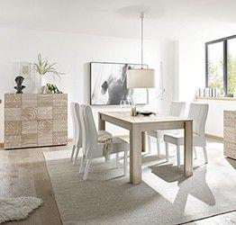 Sala completa di tavolo e 2 madie in rovere serigrafato