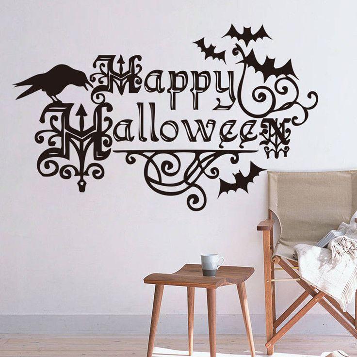 Happy Halloween Black Wall Stickers Vinyl Art Decal Mural Home Decor Removable  #UnbrandedGenenic #LettersWallStickerDecal