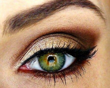 gold smokey eye makeup for hazel eyes  curls pearls