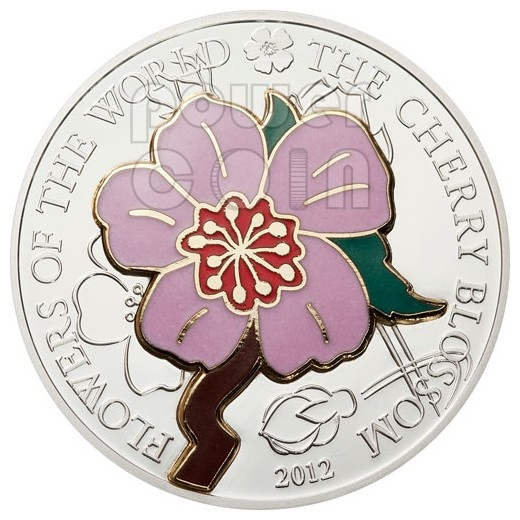 CHERRY BLOSSOM CLOISONNE Flower Silver Coin