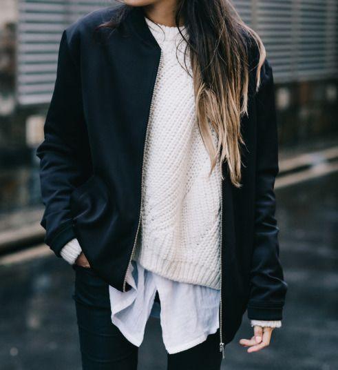 Bomber, blouse, sweatshirt.. Perfect! #black #white
