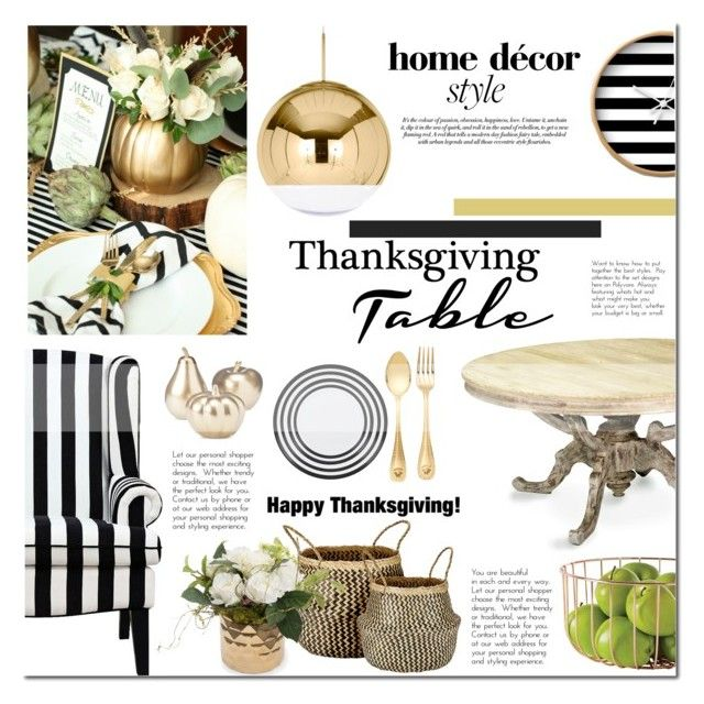 """Thanksgiving Table"" by mada-malureanu ❤ liked on Polyvore featuring interior, interiors, interior design, home, home decor, interior decorating, J.L. Coquet, Versace, Tom Dixon and Dot & Bo"