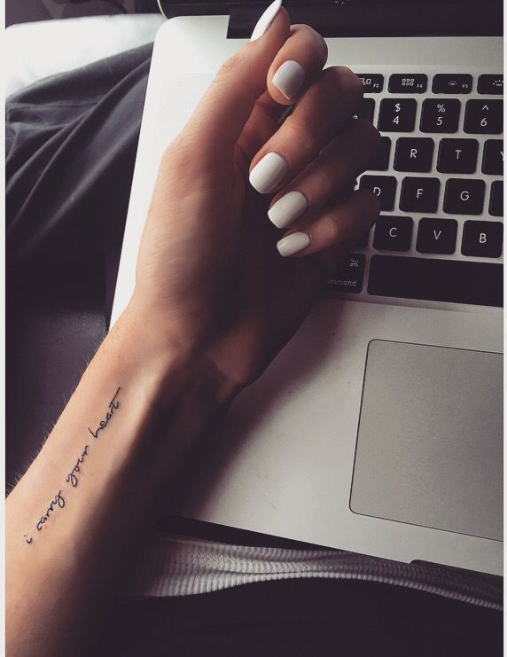 Minimalist tattoo wrist tattoo tattoo font....  Discover more by checking out the image
