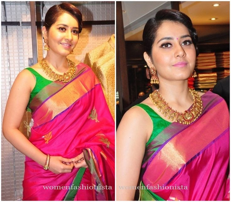 Raashi Khanna in Pink Silk saree and contrasting green sleeveless blouse