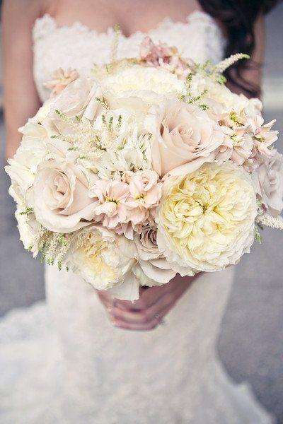 Romantic Vintage Ivory Pink Bouquet Fall Hydrangea Rose Wedding Flowers Photos & Pictures - WeddingWire.com
