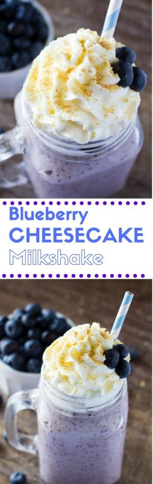 This Blueberry Cheesecake Milkshake has all the flavor of a vanilla milkshake & blueberry cheesecake! Thick, creamy & so decadent! You NEED to make this!