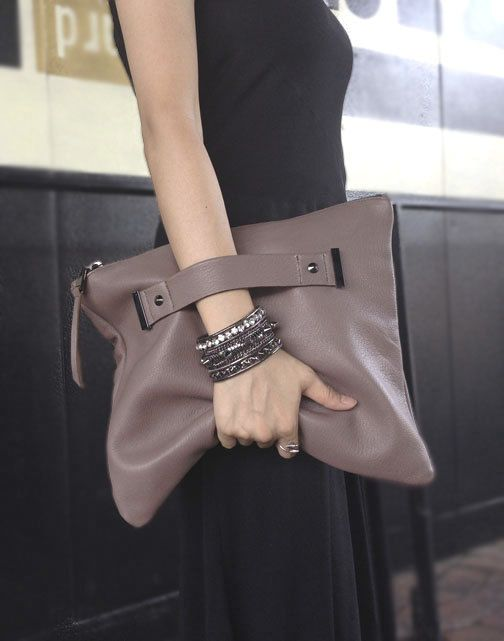 Lederen clutch met handgreep riem, foldover, oversized zak tas