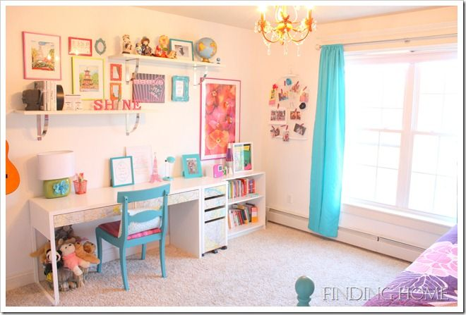 adorable desk area in tween room. white walls are so versatile!