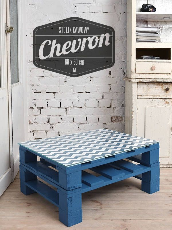 Stolik kawowy Chevron turkus/ Chevron turquise coffee table 60x80 (do Tailormade Furniture)