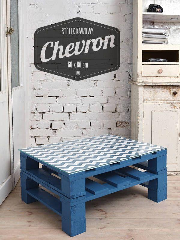 Stolik kawowy Chevron turkus/ Chevron turquise coffee table 60x80 (do Tailormade Furniture)