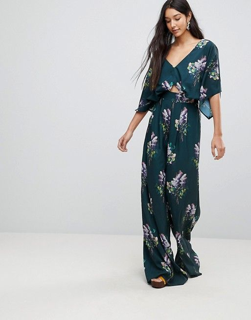 e8111e9d51c TALL Jumpsuit with Kimono Sleeve and Wide Leg in Print