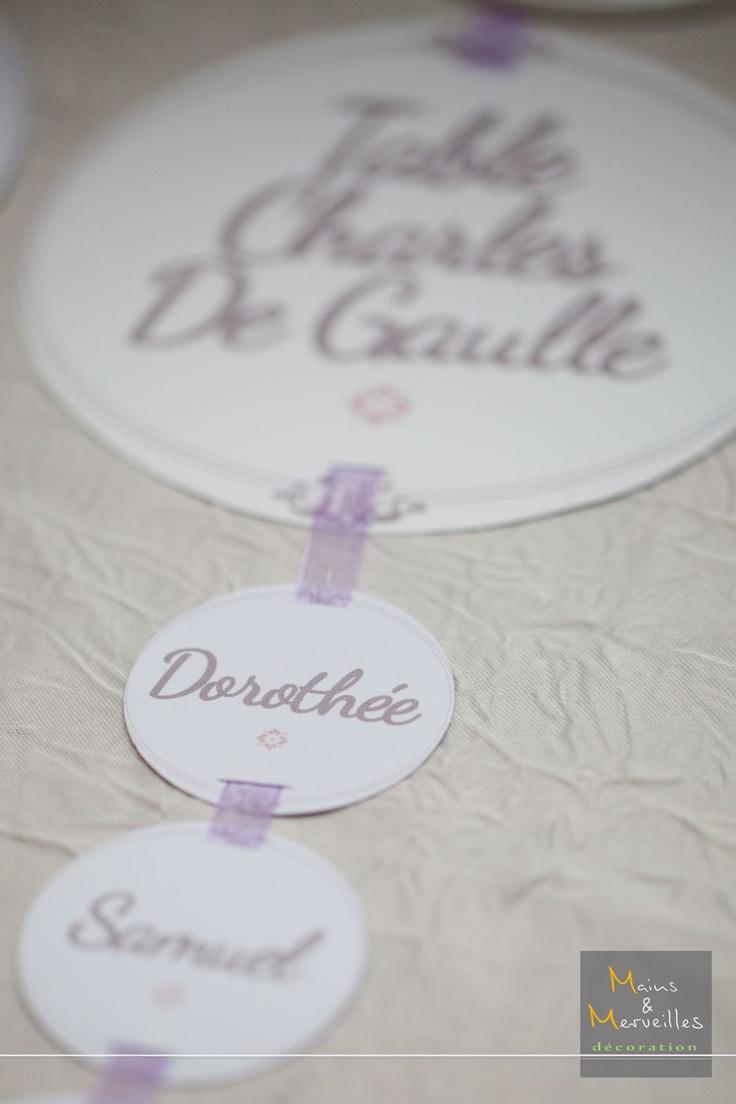 Plan de table sur ruban http://www.mainsetmerveillesdeco.fr/creation/plan-de-table/