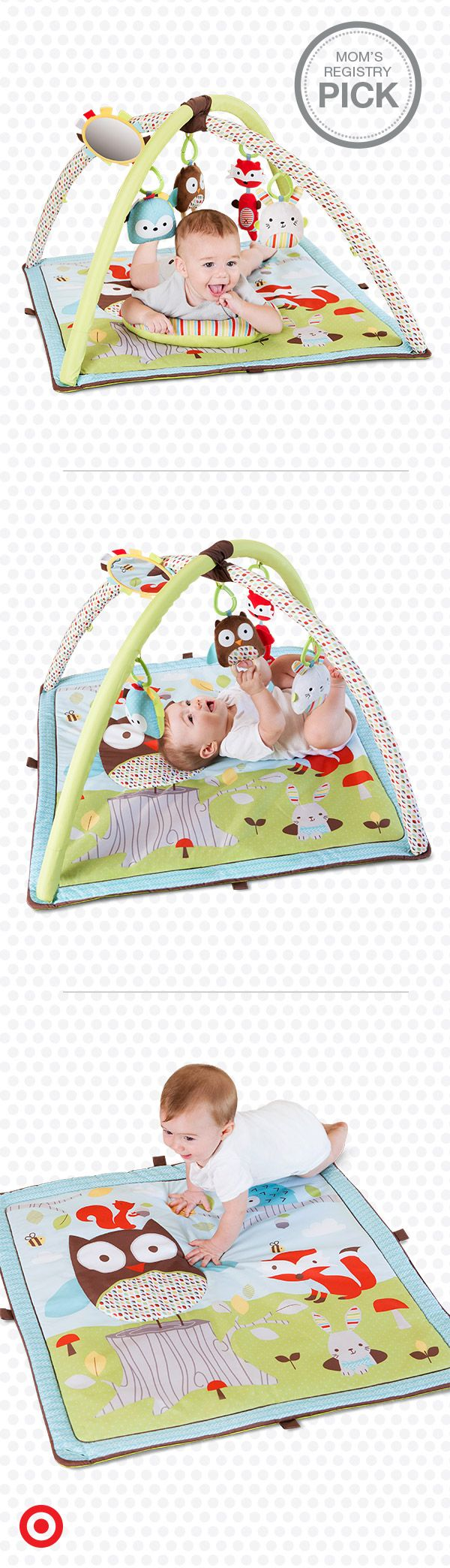 Let your baby learn and play with the Skip Hop Activity Gym, a Mom's Registry Pick. Little ones can reach for sweet woodland friends, explore new sounds and textures, and listen to music, chimes and more. Let the fun begin!
