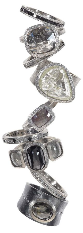 TODD REED RINGS - love his use of raw & industrial diamonds