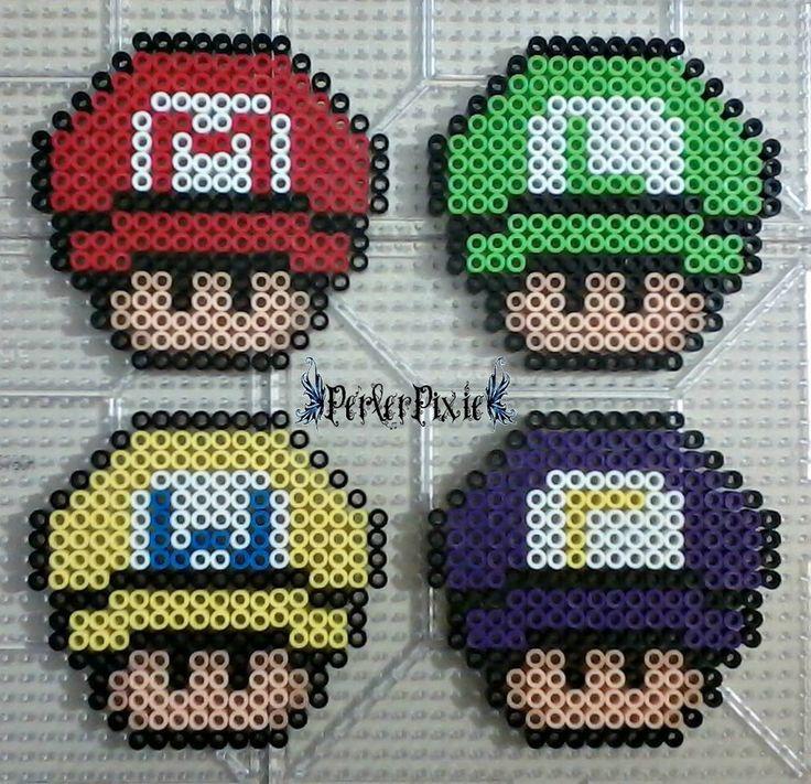 Super Mario Capped Mushrooms by PerlerPixie on DeviantArt