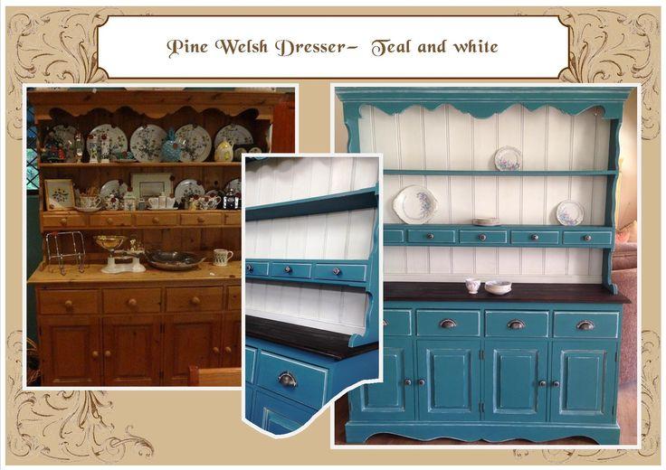 English dresser - Teal & white detail