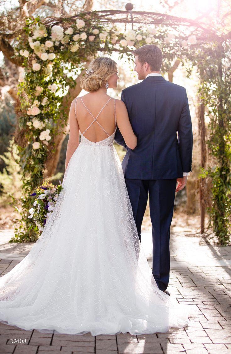 Essense D2408 Essense of Australia Fall 2017 Low back Aline wedding dress with beading