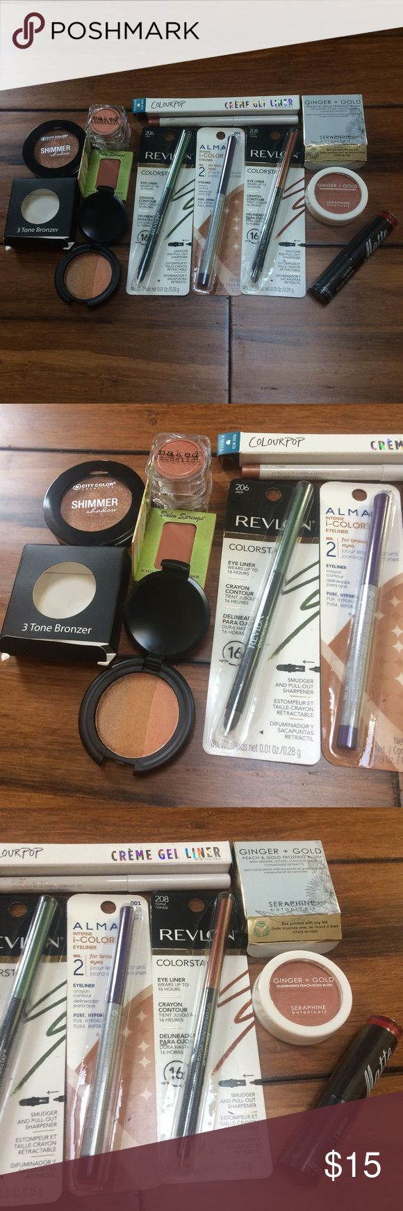 Makeup Lot All is New and in Packaging! Includes: City Color Cosmetics Shimmer Shadow, Balm Springs Blush, 3 Tone Bronzer, Naked Cosmetics Heavy Metal Eye Shadow, Colourpop Créme Gel Liner, Two Revlon Eyeliners in Jade & Topaz, One Alma Eyeliner in Black Amethyst, A Ginger + Gold Illuminating Peach-Gold Blush, And Red Matte Lipstick by Absolute New York. Makeup