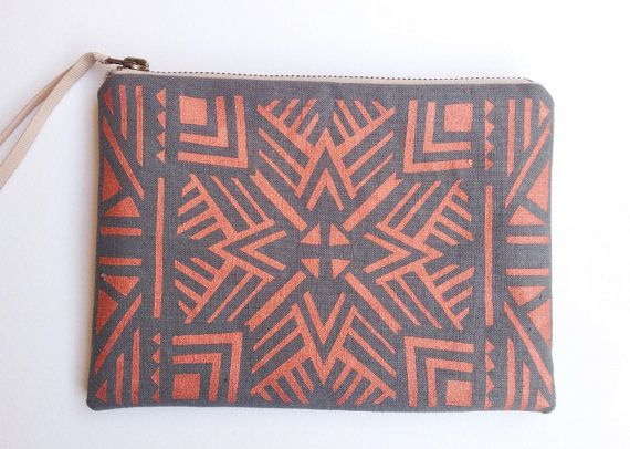 Aztec pouch in metallic copper  and charcoal- screen printed and handmade