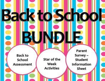 Back to School BUNDLE - Assessments, Star of the Week, Par