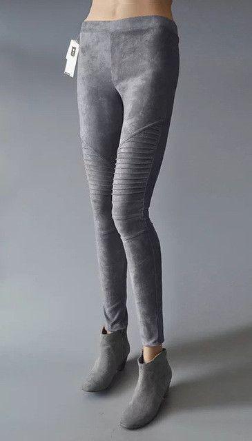 Aelegantmis Faux Suede Leggings Sexy Skinny Pencil Pants Women 2017 Spring Slim Stretch Pleated Elastic High Waist Pants Ladies
