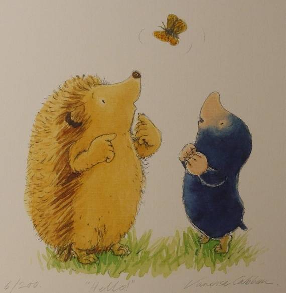 Hedgehogs, moles, and butterflies. Perfect! #art #etsy