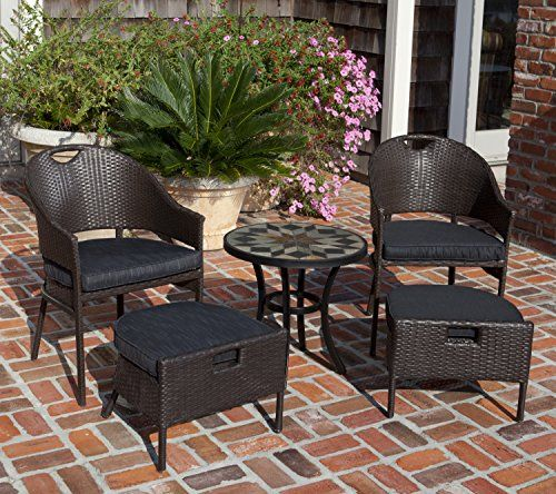 Campeche All Weather Wicker 5pc Bistro Set Foot Stools