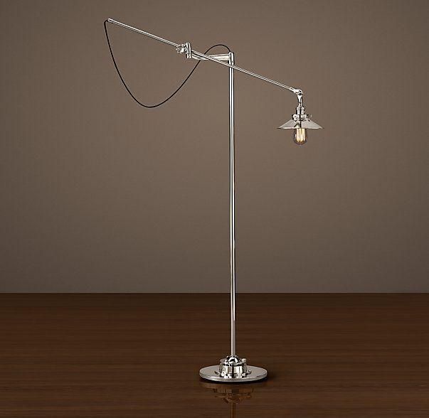 20th C Factory Filament Metal Floor Lamp Industrial