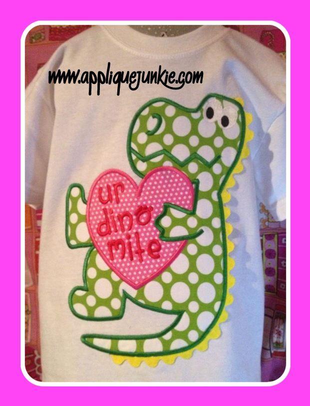 Dinosaur Valentine Applique Design Embroidery For Winter
