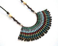 Macrame necklace/Boho necklace/Hippie chic necklace/Micromacrame jewerly