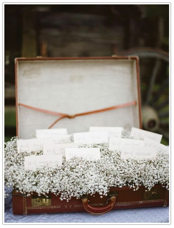 maybe for the place cards? with babies breath in a wine box instead of suitcase