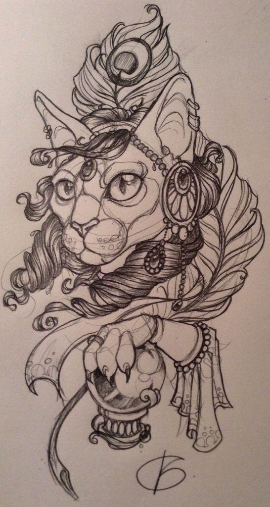 Fortune teller cat by Nina, Beautiful Freak Tattoo Belgium