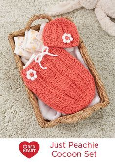 Just Peachie Cocoon Set Free Crochet Pattern in Red Heart Yarns -- Be ready to welcome your newborn bundle of joy with this cozy cocoon and beanie set. Crochet post stitches are used to create ribbing and cable patterns. Bobble stitches form the perfect flower petals. It's ideal for a shower gift!
